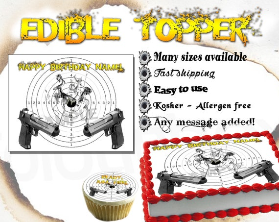 Rice CARD Cake Topper Edible Personalised Stand Up Las Vegas Sign Wafer