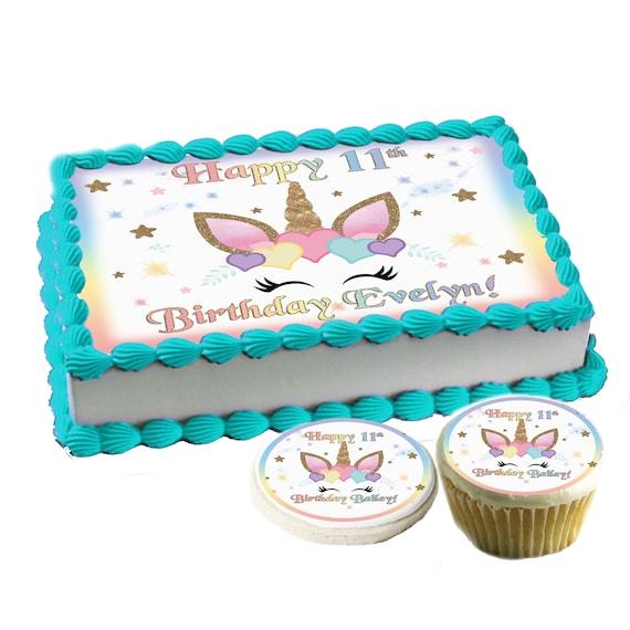 Astonishing Colorful Hearts Unicorn Face Edible Birthday Cake Toppers Etsy Birthday Cards Printable Benkemecafe Filternl