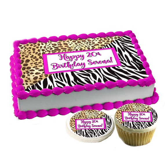 Inspirado diseñador Tarjeta De Oblea Comestible Cupcake Toppers Y Glaseado Hoja Cake Toppers