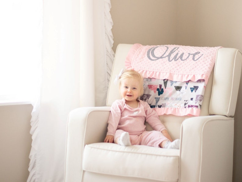Soft Minky Toddler Blanket Light Pink and Gray Adventure Awaits Baby Blanket with Name Personalized Baby Girl Blanket with Satin Ruffle