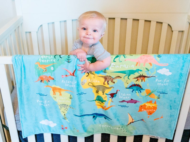 Personalised Baby Blanket Red Dinosaur design in a choice of 7 colours