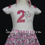 Aristocats - Marie Skirt and personalized t-shirt with matching ribbon headband Sizes 12 months - 6X