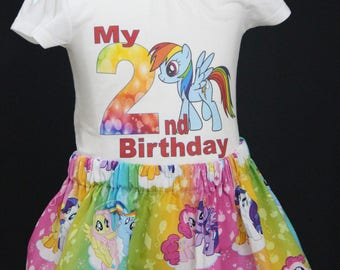 My LIttle Pony skirt and custom t-shirt sizes 12 months - 9 years
