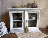 Vintage distressed Handpainted Wall Cabinet with 2 doors whit glass, Shabby White Painted Cabinet , Wall Cupboard, Shabby Chic,