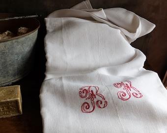 Vintage stof antieke Chemise hennep & katoen Smock Frans 19C