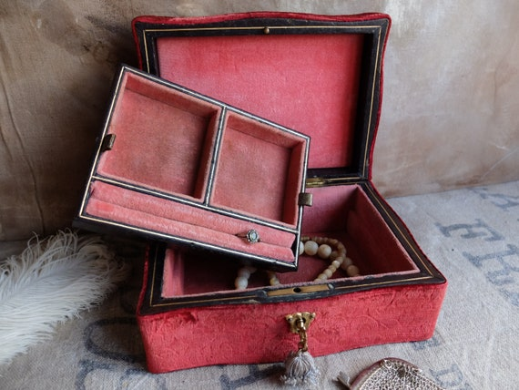 Antique Jewelry Box/ Wooden Box with Brocade Velv… - image 8
