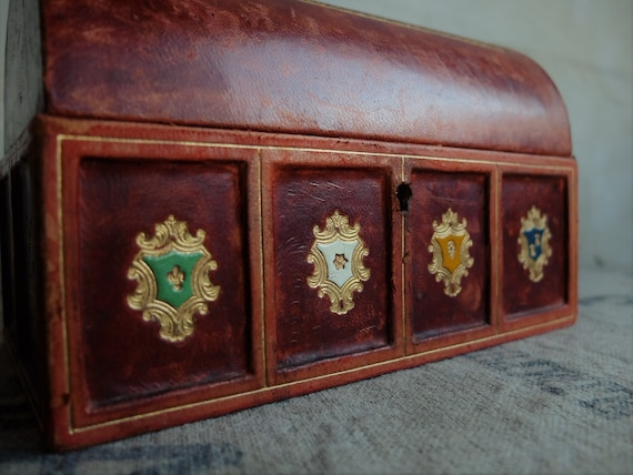 Antique Jewelry Box/ Leather and Velvet Box/ Embos