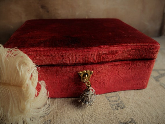 Antique Jewelry Box/ Wooden Box with Brocade Velv… - image 1