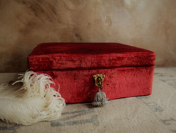 Antique Jewelry Box/ Wooden Box with Brocade Velv… - image 10