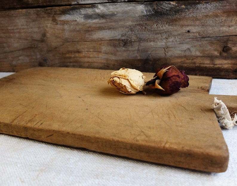 Antique French Worn Thick Wood Kitchen Solid Wood Cutting Board with a Wonderful patina of age French cutting board