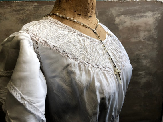 Beautiful Antique FRENCH long romantic dress,  nig