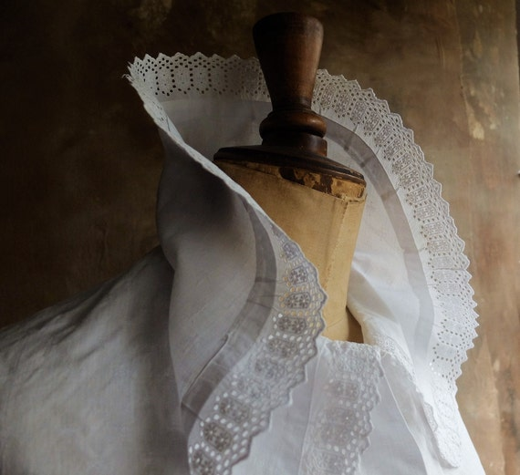 Antique French Cotton White Blouse/France 1930 /An