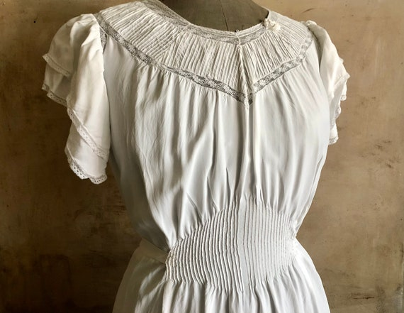 Beautiful Antique FRENCH long romantic dress,  nig