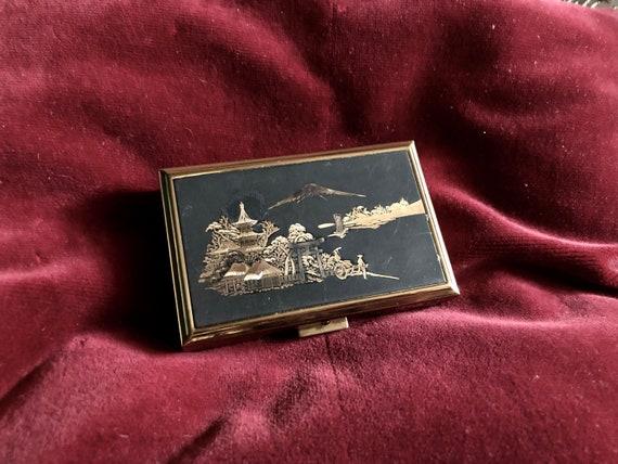 Vintage Compact Damascene Music Box Musical Powder