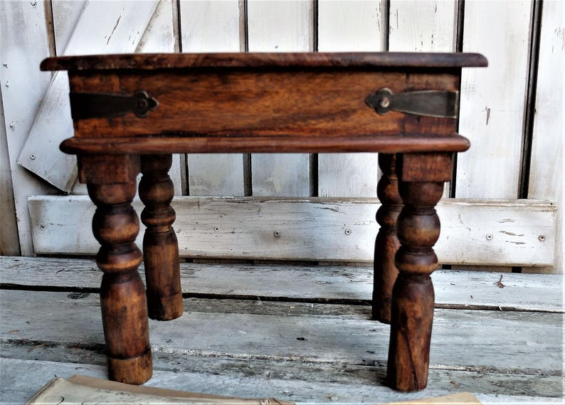 Groovy Antique Small Square Table Olive Wood Antique Plant Table Solid Wood Table Olive Wood Stool Squirreltailoven Fun Painted Chair Ideas Images Squirreltailovenorg