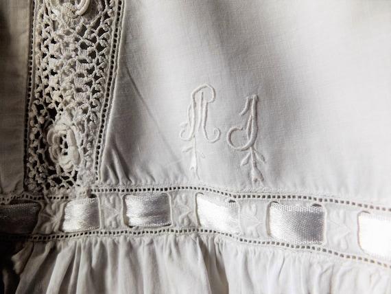 Antique French Nightdress/ White Cotton/ Handmade