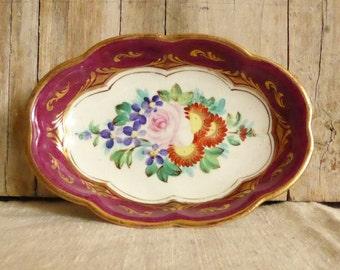 VINTAGE Small fine pocelain oval plate, hand Painted