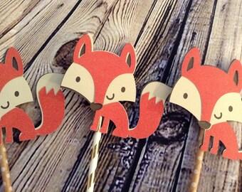 Woodland fox birthday babyshower caketopper centerpiece