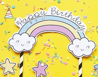 Unicorn topper cake - topper for birthday - Topper for candy bar