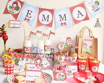 Red Riding Hood - druckbare Kit - Pack Dekoration Rotkäppchen und Wolf - Baby-Dusche, erstes Jahr