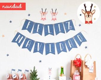Christmas printable Party Pack - christmas deer printable kit - christmas decoration pack deer