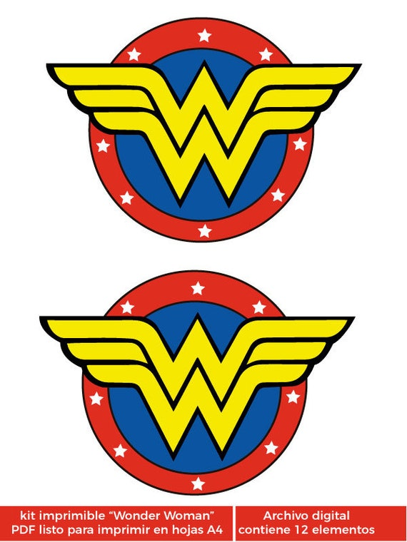 image relating to Wonder Woman Printable Logo identified as Speculate Female printable package (speculate girl) Pack for birthday get-togethers, youngster shower, to start with yr, occasion package