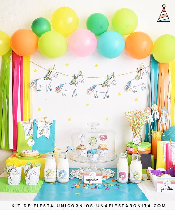 Kit de fiesta para imprimir unicornios de colores