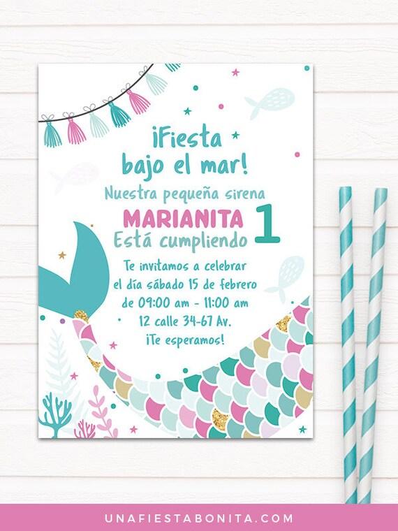Sirenita invitación primer añito cumpleaños tarjetas de | Etsy