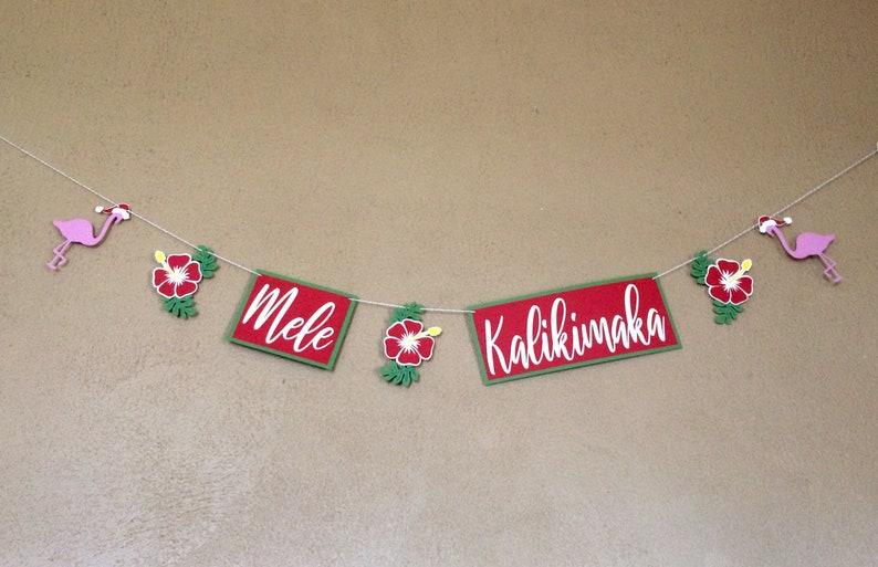 Mele Kalikimaka Hawaiian Christmas Banner Tropical Christmas Party Decor Beach Christmas Winter Holiday Party Decorations Christmas Luau