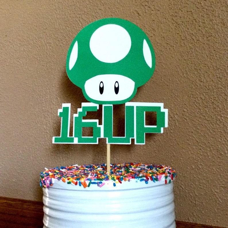 Mario Cake Topper Video Game Party Mushroom