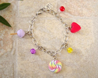 multicolored kids bracelet - gourmet heart Lollipop lollipop chupa Fimo polymer clay bracelet - little girl bracelet