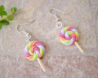 Lollipop lollipop fimo - ears bouces sugar multicolored polymer clay - costume jewelry child - polymer clay earrings