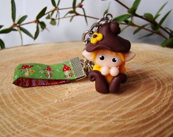 birthday gift - bag charm Pixie Elf foletto Fimo - key character fairy doll