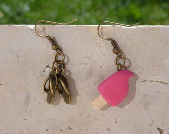 Raspberry ice - asymmetrical earrings polymer clay and flip flops - humorous jewelry - polymer clay earrings polymer clay pink ice cream