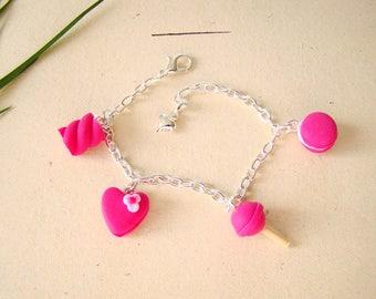 little girl bracelet pink heart lollipop badge Marshmallow - child bracelet - handmade children's bracelet polymer clay polymer clay