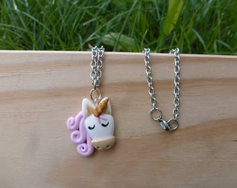 Kids Unicorn necklace, Unicorn horse girl birthday gift necklace, fimo, polymer clay nicklace