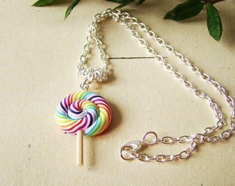Multicolor candy cane - earrings polymer clay candy Lollipop lollipop - Christmas gift - earrings