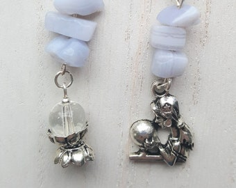 Fortune Teller & Crystal Ball Earrings with Blue Lace Agate