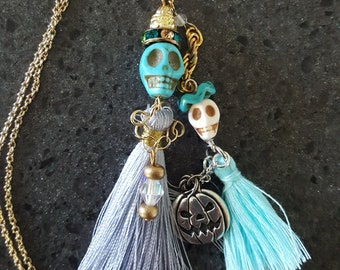 Sugar Skull Mama & Baby Trick-or-Treaters: Choose Pink or Blue Baby