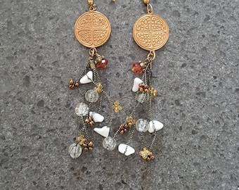 Spice Route Earrings / Antiqued Filigree Brass & Autumn Spice Colours
