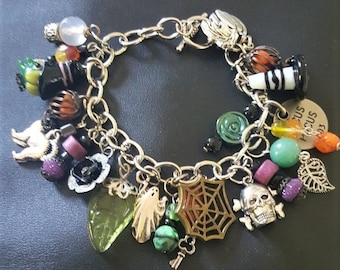 """Season of the Witch Charm Bracelet / Fits large - 7 3/4"""""""