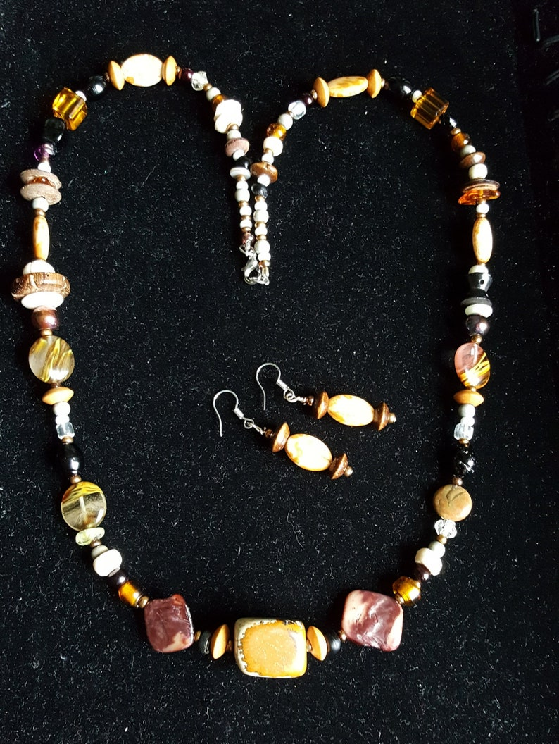 Wood  Boho  TheCountyMagpie Bone Shell Desert Jasper Necklace /& Earring Set  Earth and Fire Statement Jewellery  Natural Stone