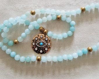 Magickal Eye Aquamarine Gemstone Witch's Mala Necklace / 81 Bead Witch's Ladder