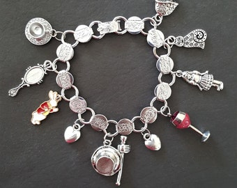 "Alice In Wonderland Charm Bracelet / Small 6 - 6 1/2"""