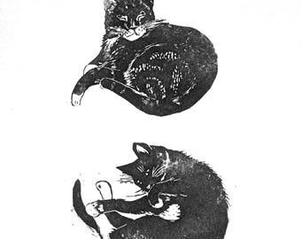 Cat Lino print, custom pet portrait, Block Print of YOUR Cat, Cat illustration, Linocut art, Gift for Cat lovers, Art Print, wall art