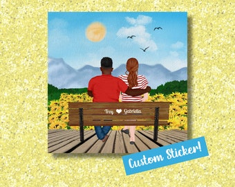 Custom Couple on a Bench Die Cut Sticker | Personalized Anniversary Gift | Custom Name Gift | Made to Order Sticker | Wedding Shower Present