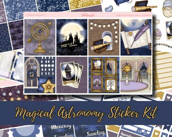 Magical Astronomy Tower Weekly Planner Sticker Kit | Full Boxes, Deco, Blank Boxes, Full Checklists, Washi, Date Covers, Functional Sheets