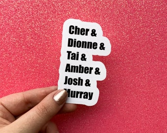 Clueless Characters Die Cut Sticker   Glossy, Transparent, Matte, and Silver Foil Options