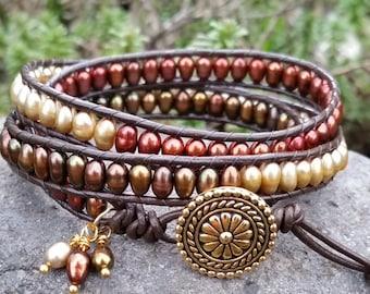 Triple Wrap Beaded Leather Bracelet, Beaded Wrap Bracelet,Freshwater Pearls,TierraCast Bali Button,Greatest Joy Gifts,Gift for her