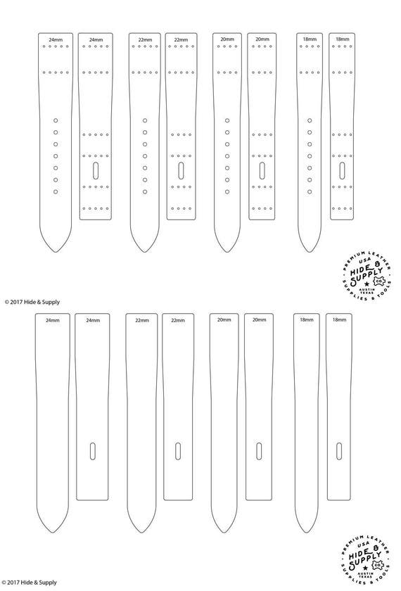 watch strap band template pattern guide set 18mm 20mm 22mm etsy